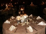 Warm Tan Textured Table Cloth with Flower Petals and Satin Napkins
