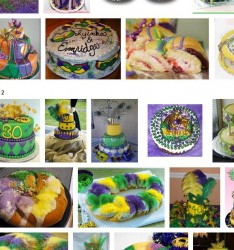 You can see hundreds of Mardi Gras Cakes on Google Images.