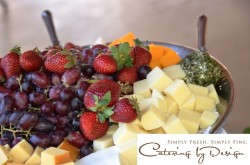 Colorful and delicious cheeses and fresh fruit