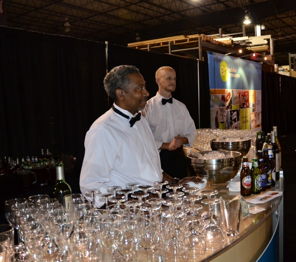 Albert and Jim serving at the bar for a Raleigh Chamber Event